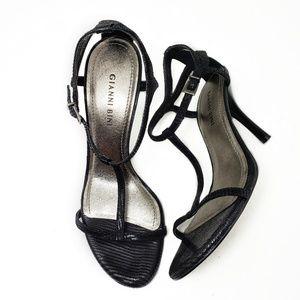 Gianni Bini Black Open Toe T-strap Sandals Sz 8.5
